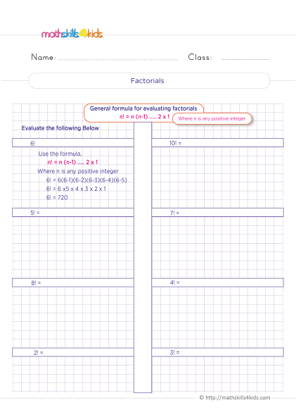 Probability Worksheets for Grade 6 with Answers - Simplifying factorial expressions