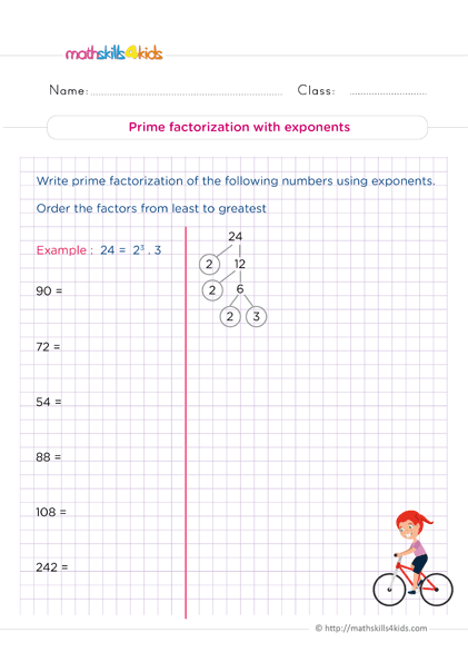 6th Grade Number Theory Worksheets PDF - Understand how to write prime factorization with exponents