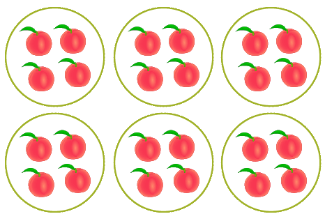 write multiplication expression for equal groups example - 6 groups of 4 apples