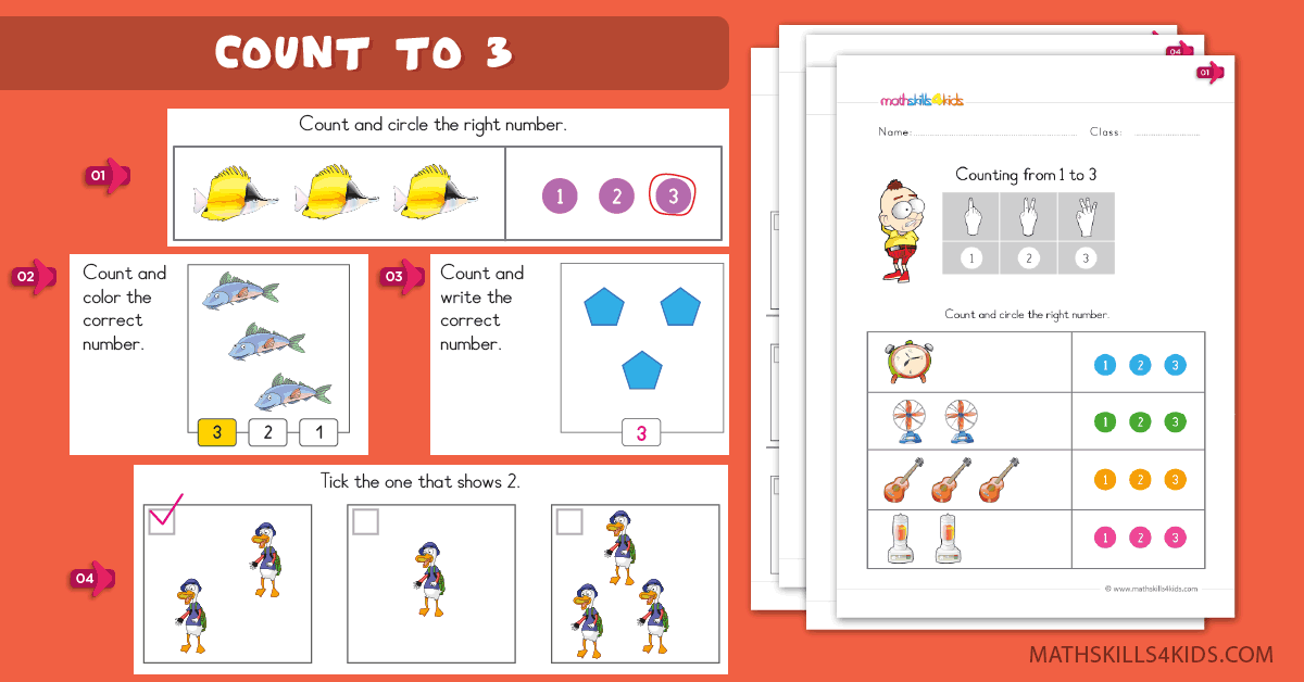 Kindergarten math worksheets - Learn to count up to 3 worksheets