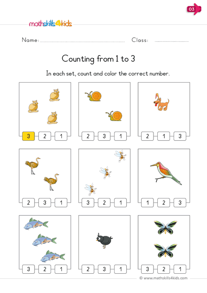 Reading and writing numbers - count 1 to 3 color the number worksheets