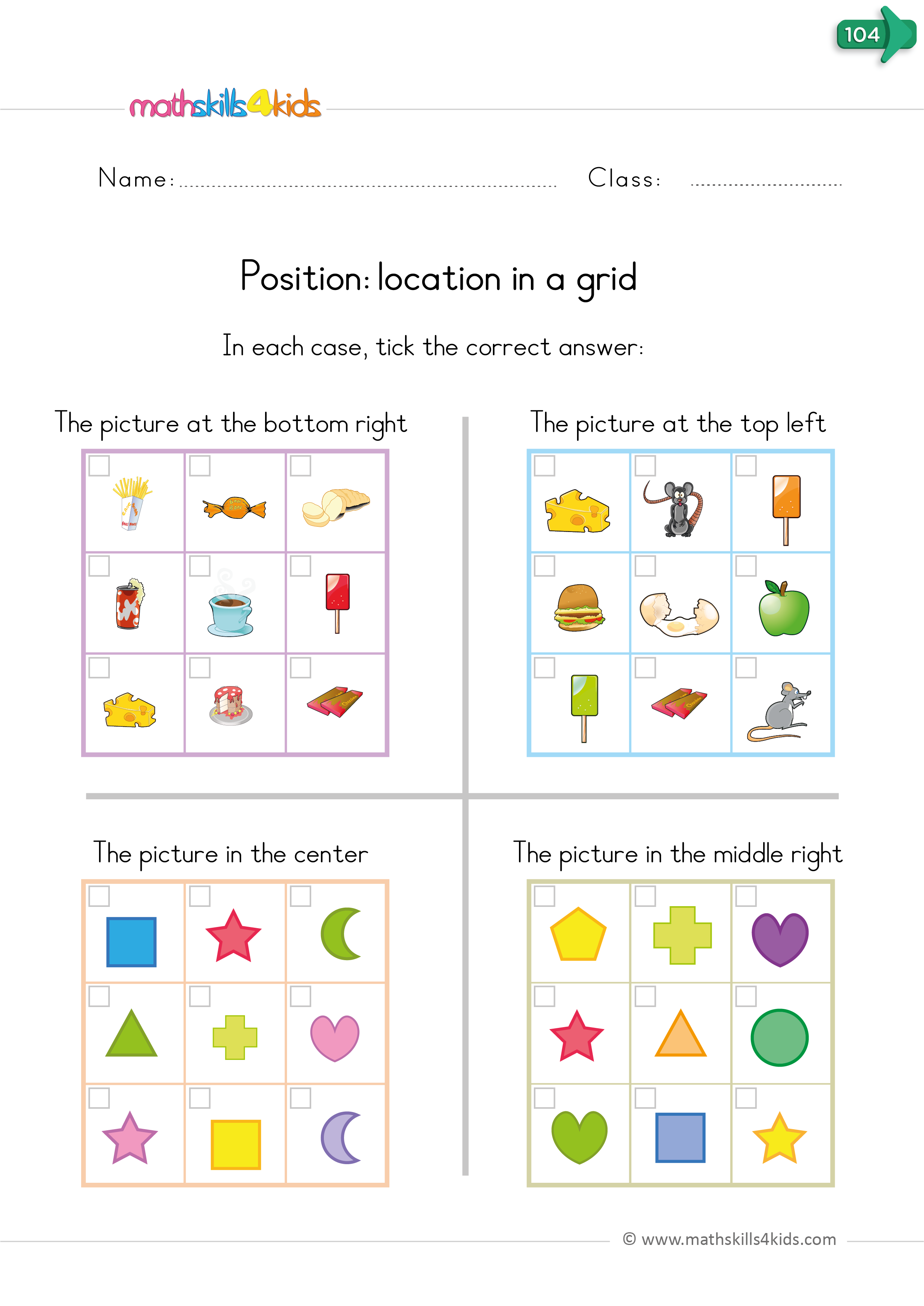 kindergarten math worksheets - positional words grid location top-right, bottom center, etc.
