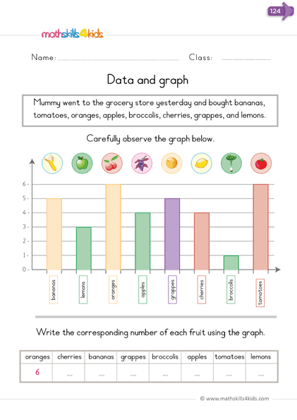 Data and Graphs Worksheets for Kindergarten | Free Graphing ...