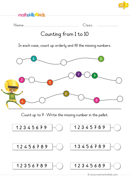 Reading and writing numbers - count 1 to 10 - count up with numbers
