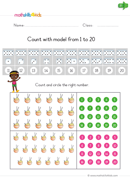 Reading and writing numbers - count with model from 1 to 20