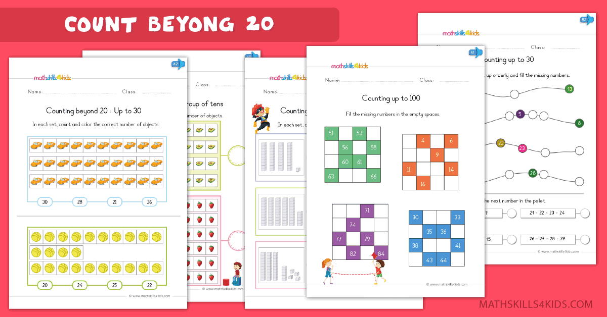 Kindergarten math worksheets - Learn to count from 20 to 100 worksheets