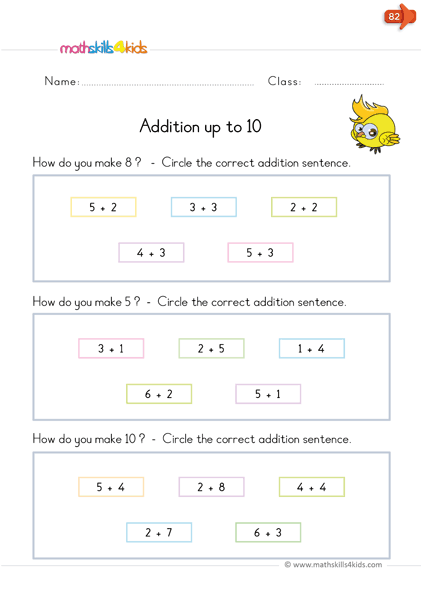 kindergarten math worksheets - addition up to 10 - match each sum with the correct addition sentence