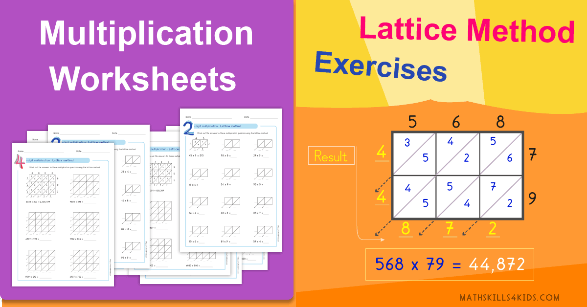 Lattice multiplication worksheets PDF - Printable multiplication tests