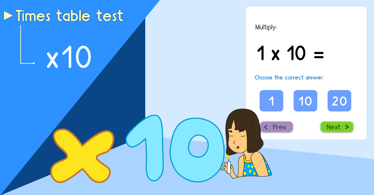 10 times table quiz - Multiply by 10 test - Free 10 times table math games online