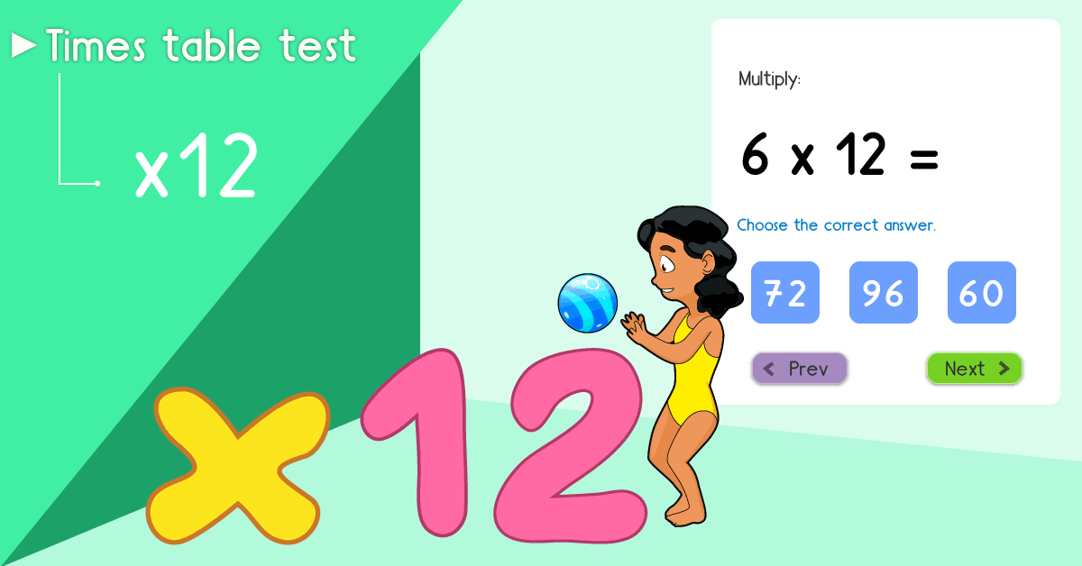 12 times table quiz - Multiply by 12 test