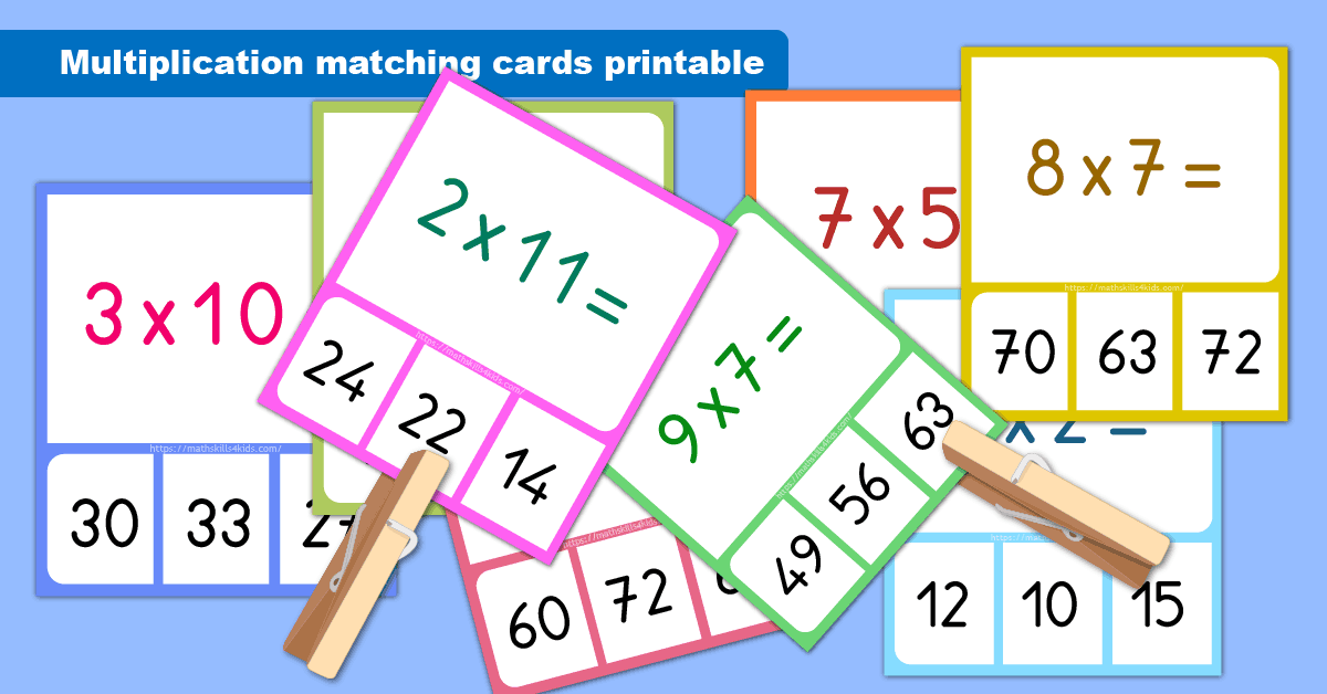 picture regarding Printable Memory Games titled Multiplication matching playing cards printable Multiplication