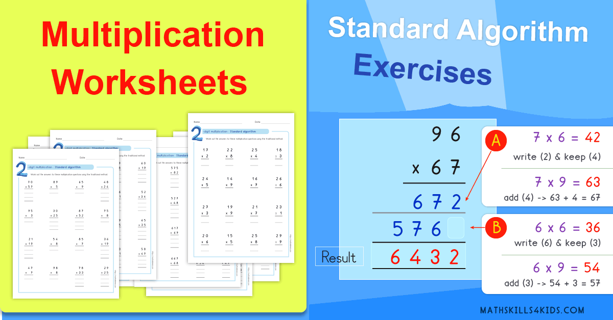 Standard Algorithm multiplication worksheets PDF - multiplication printable tests
