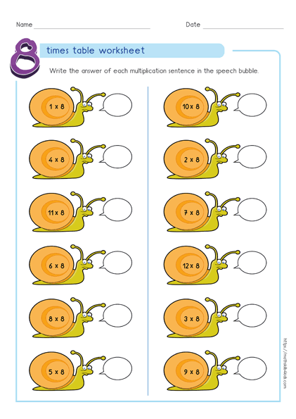 8 times table worksheets PDF - Multiplying by 8 activities