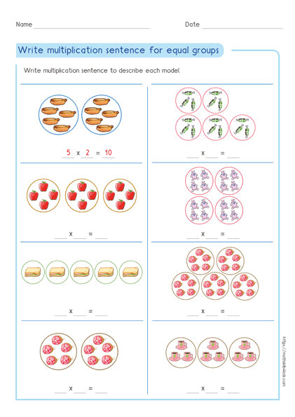 Write multiplication expression for equal groups worksheet 3