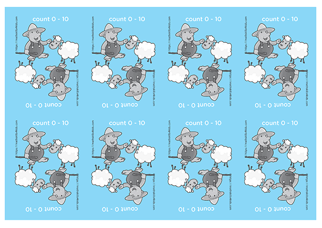 Hero Shepherd printable counting cards for numbers up to 10 - back of the cards