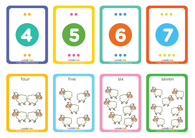 Hero Shepherd numbers up to 10 matching pairs cards printable - number 3 to 4