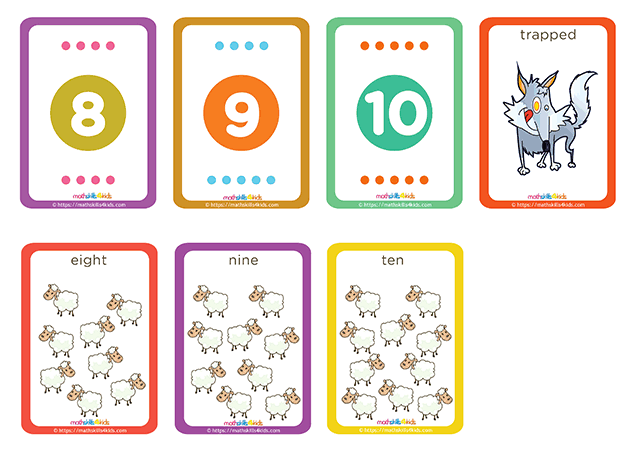 Hero Shepherd numbers up to 10 matching pairs cards printable - number 5 to 6