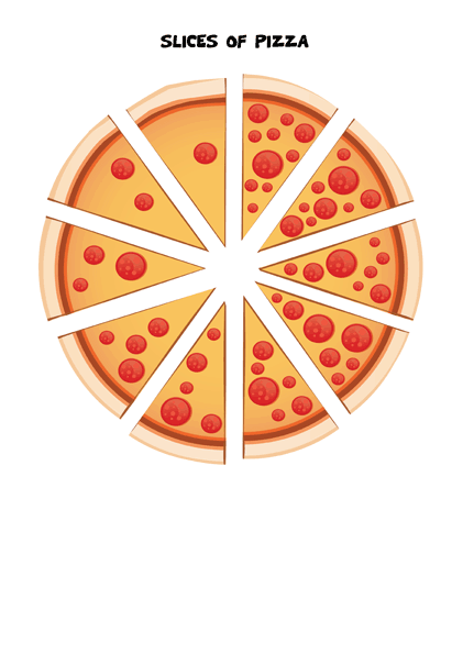1-10 Pizza number matching game - slices of pizza