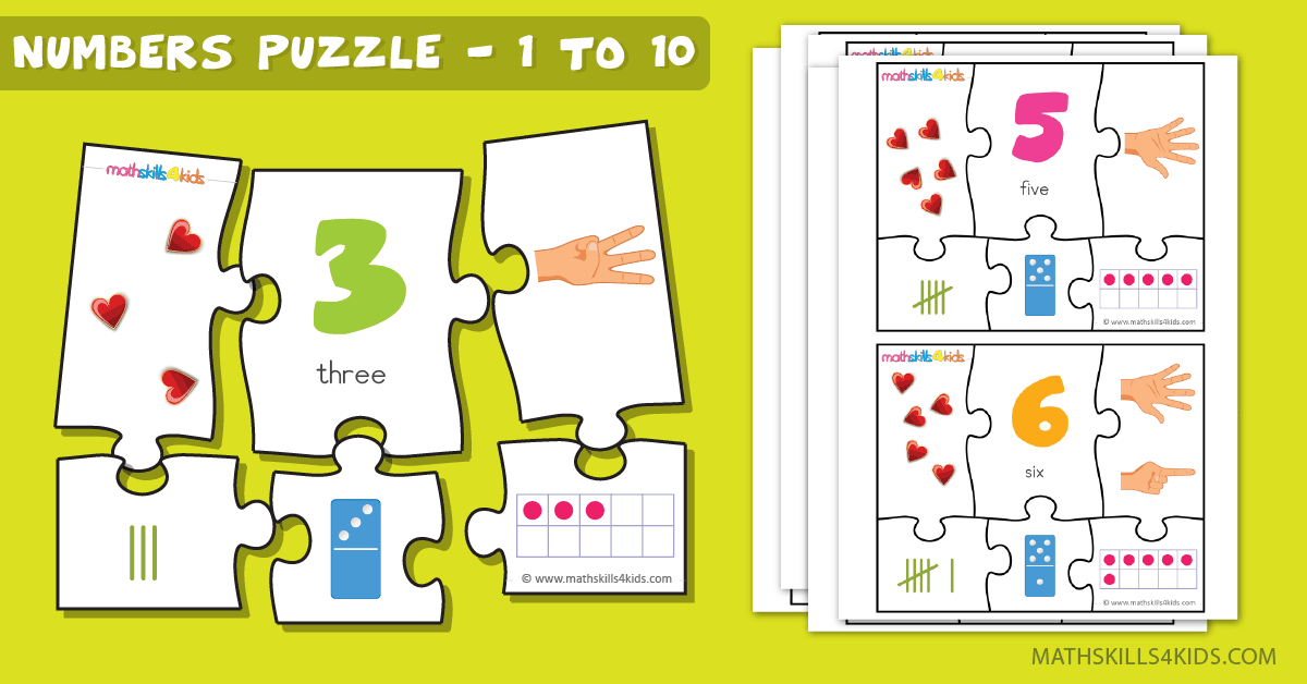 Printable Number matching puzzles - Number Puzzle game for kids