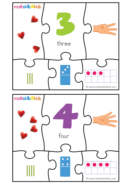 Printable Number matching puzzles - number 3 to 4