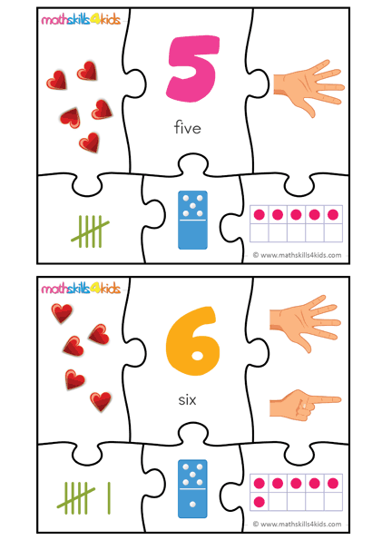Printable Number matching puzzles - number 5 to 6