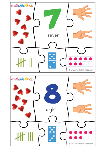 Printable Number matching puzzles - number 7 to 8