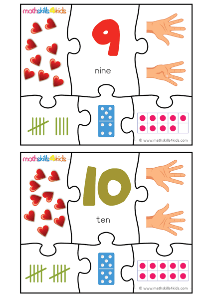 Printable Number matching puzzles - number 9 to 10