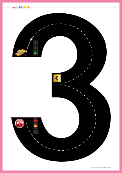 image about Number 3 Printable named Highway Figures Math doing exercises sport Pre-K Free of charge printable Highway