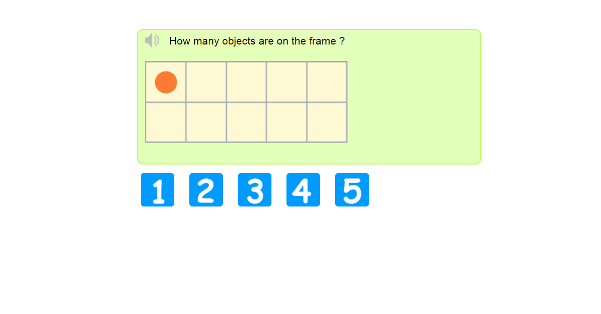 Counting to 5 with ten frame - How to use a ten frame to represent number five