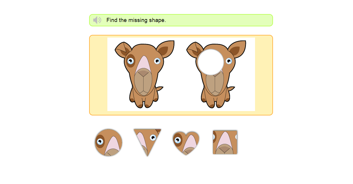 Matching shapes with pictures game online - Identify the missing shape