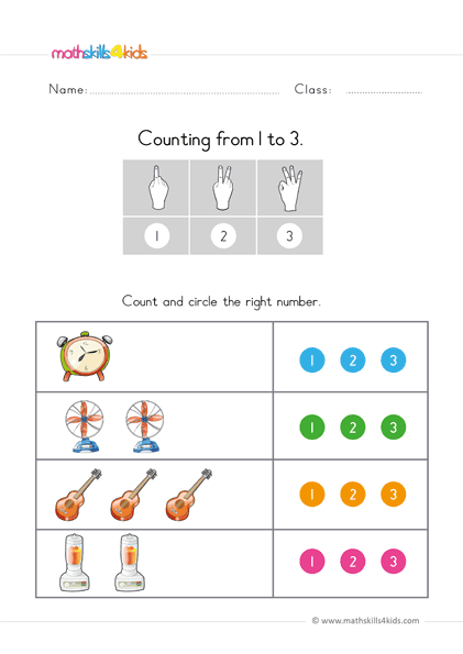 Learn to count up to 3 worksheets