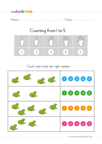 count up to 5 worksheets