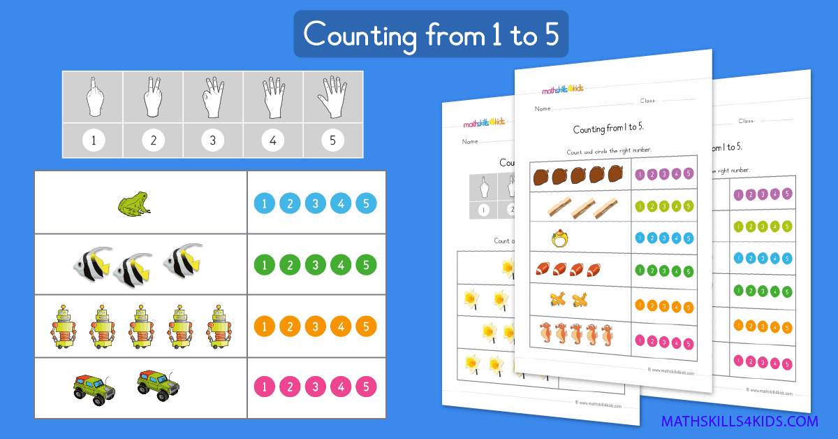 Learn to count up to 5 worksheets