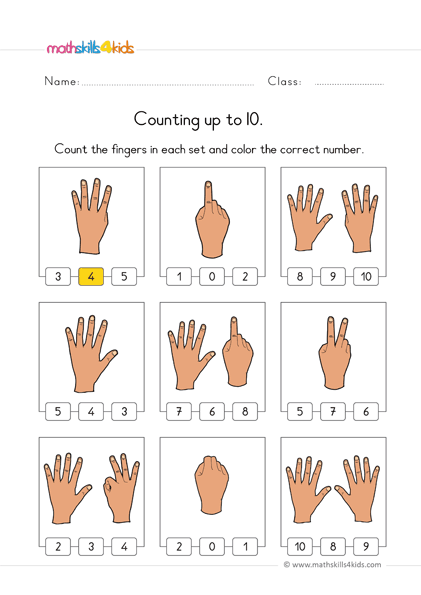 count up to 10 worksheets