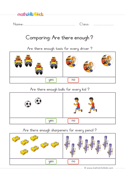 pre k comparing worksheets - are there enough