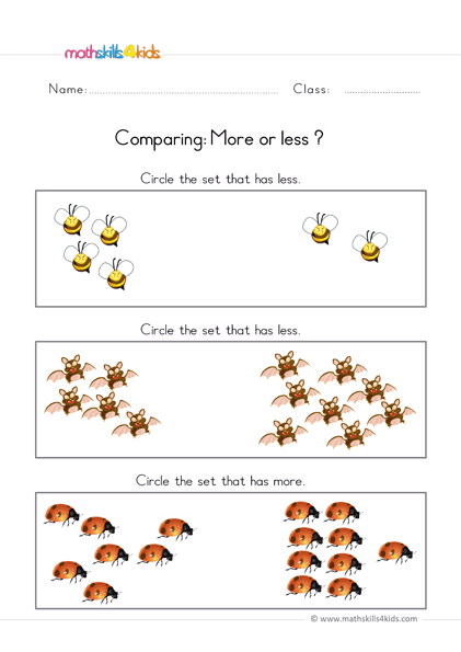 pre k comparing worksheets - more or less