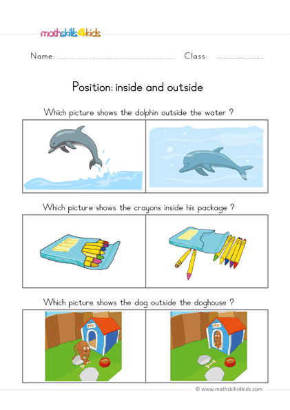 pre k position worksheets - inside outside