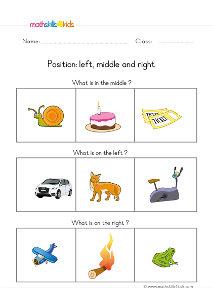 pre k position worksheets - left middle right