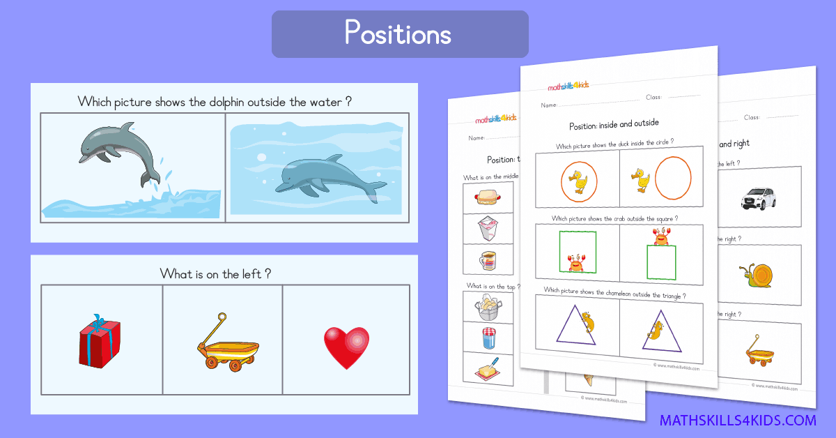 Preschool position worksheets PDF - Positional words activity