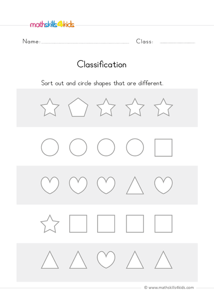 preschool math worksheets - classify different shapes