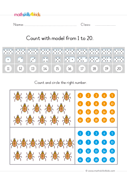 preschool math worksheets count up to 20