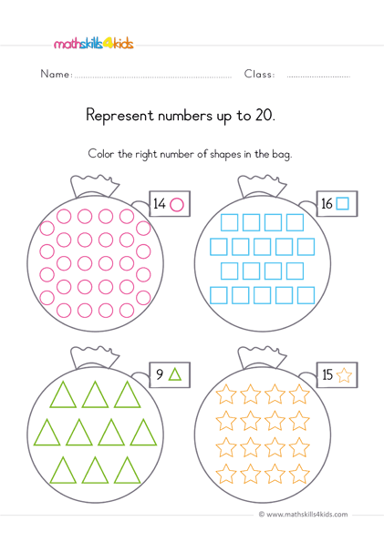 preschool math worksheets numbers up to 20