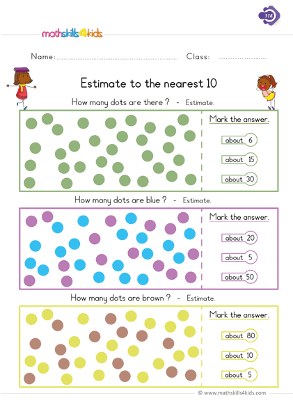 1st Grade Math Estimation Worksheets PDF | Rounding and ...