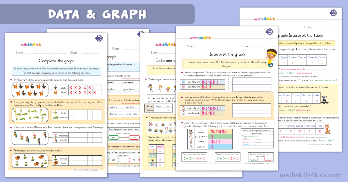 First Grade math worksheets - data and graph worksheets