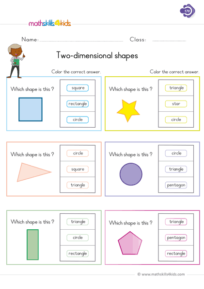 1.two-diional-shapes Counting Worksheets With Objects on for pre, numbers classroom, free printable, writing numbers,