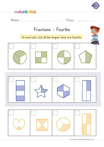 Fraction Worksheets For Grade 1 PDF 1st Grade Printable Fractions  Worksheets