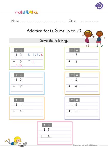 Addition Worksheets For Grade 1 PDF 1st Grade Basic Addition Skills