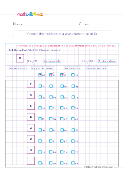 Multiplication Worksheets Grade 4 printable with answers - Choose the multiple of a given number up to 10