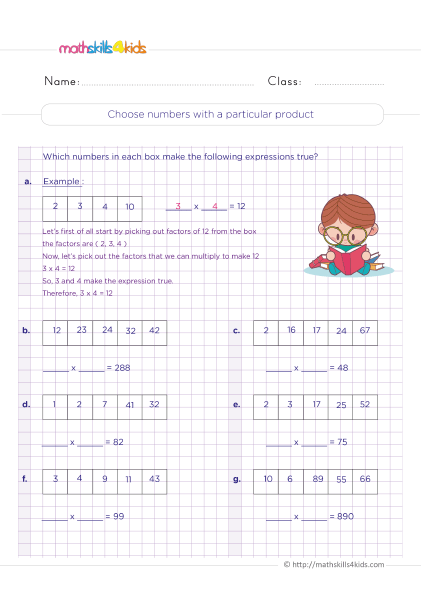 Multiplication Worksheets Grade 4 printable with answers - How to choose a number with a particular product