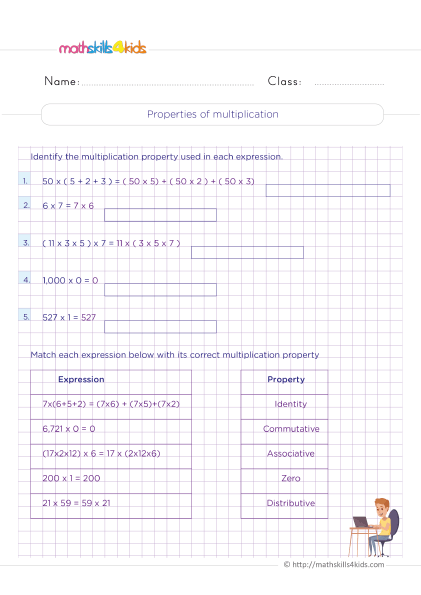 Multiplication Worksheets Grade 4 printable with answers - How do you identify properties of multiplication?
